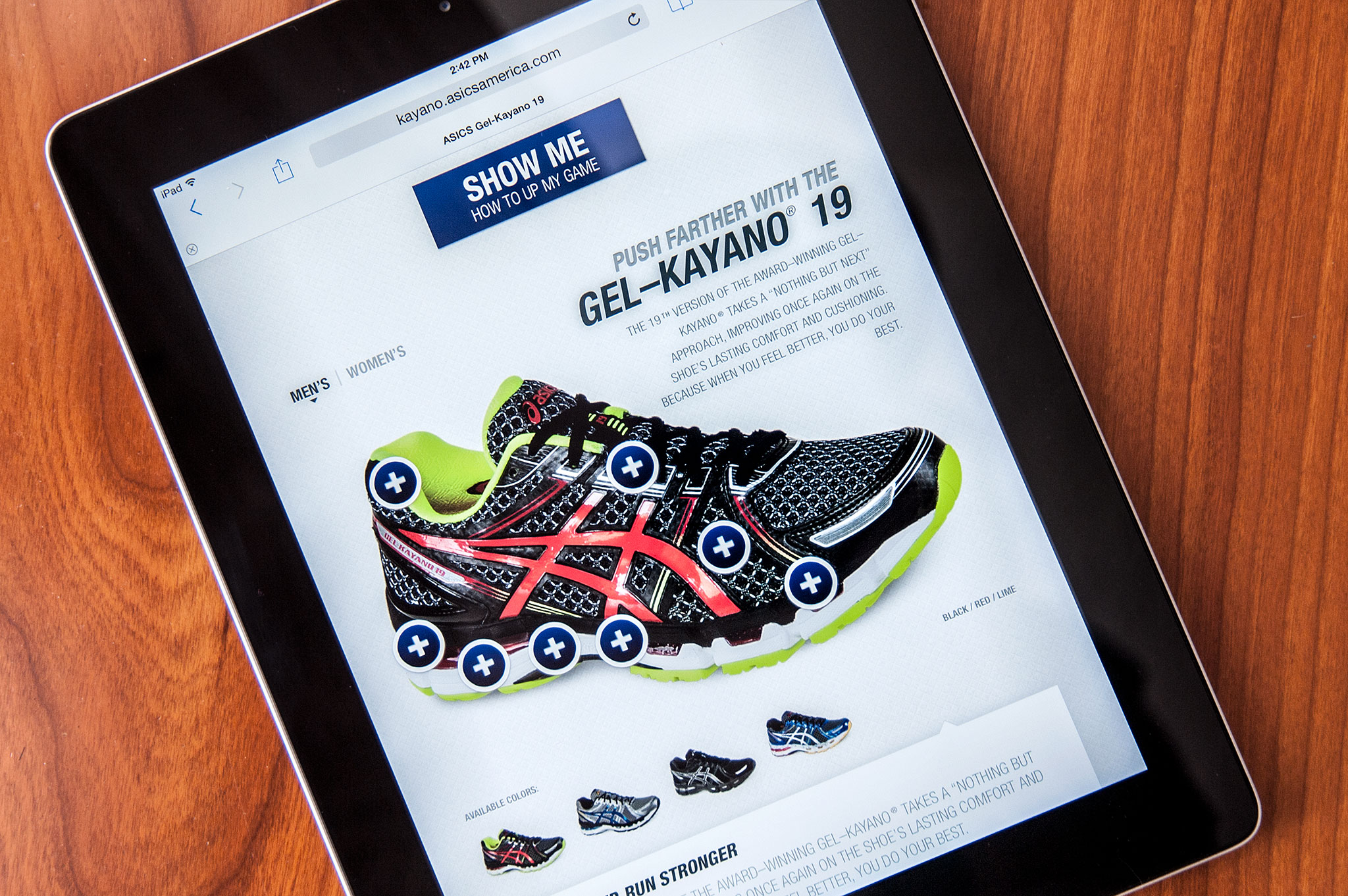 ASICS Kayano 19 Responsive Site on iPad
